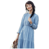 INMAN F1881104635 Dress  2018 New Products Women Round Collar Spring Cotton Long Dress