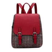 COZIME Fashion Plaid Lady Backpack PU Patchwork Students Bag Handheld School Red