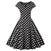 Jantens Dress Polka Dot Short Sleeve O-Neck Cotton Dress Vintage Evening Dress Female