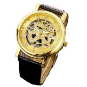BANGLONG Skeleton Gear Watch Leather Strap Hand Watches -Onesize -Black