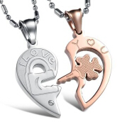SESIBI 1Pair Lovers Jewelry Ti Hearts Pendant Necklace Chain With Stone -