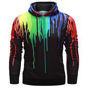 Fashionmall Trendy Hooded Long Sleeve Colorful Print Pullover Men Hoodie