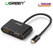 UGREEN Type C to HDMI VGA Adapter 2 in 1 USB 3.1 USB C to VGA HDMI 4K UHD Converter Adapter Thunderbolt 3 Compatible