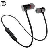 Metal sports stereo Bluetooth headset wireless magnetic music Bluetooth anti-sweat headphone hot sale earphone Black
