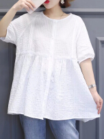 Solid Color Loose Half Sleeve O-neck Patchwork Casual Blouses White All Size