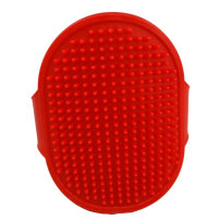 Glove type oval rubber cat dog bath comb red