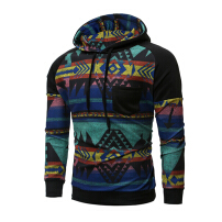 Zanzea Mens Hoodies Retro Pattern Printing Stitching Front Pocket Casual Sport Hooded Tops Black L