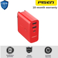 PISEN 2-in-1 Wall Charger and Power Bank 5000mAh AC5000 Smart Charging 2.1A , Type C , Colokan EU US UK Red