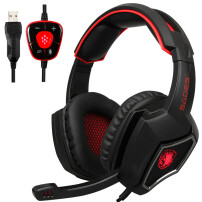 Sades Spirit Wolf 7.1 Computer Headphone Gaming Headset Surround Stereo Sound USB Wired with Mic Red