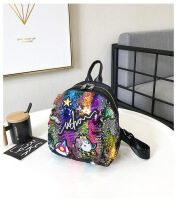 Mini Sequined Backpack with Cute embroidery backpacks Travelbag Bling Shiny Backpack School Backpack Multicolor