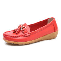 Zanzea Big Size Women Colorful Casual Fringe Leather Flats Shoes Red 39
