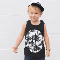 Kids Baby Boys Girls Sleeveless Cartoon Print Tops Vest T-Shirt Casual Clothes Ready stock