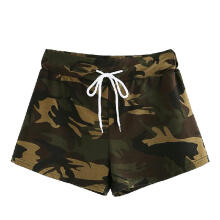Summer Fashion Womens Casual Hot Pants Drawstring Waist Camo Shorts Trousers_Grass Green Camouflage_M