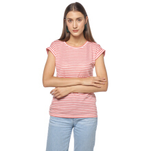 FACTORY OUTLET LO1709-0005 Women T-shirt SS 43G7  White Stripe Pink - White