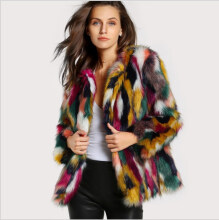 Shopping funny - Fur coat colorful faux fur coat multi-color long-sleeved collarless casual female winter fur coat (Freeshiping) XS