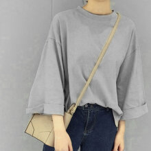 Female Loose Round Neck Split Fork Curled Seven-point Sleeve T-shirt grey