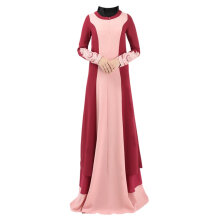COZIME  Simple Design Stitching Color Long Sleeve Women Islamic Long Dress Muslim Robe Dark Red Size M