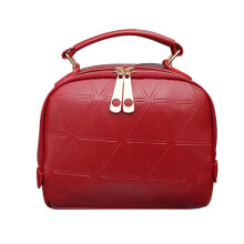 [LESHP]Lady Single-shoulder Bag Casual Crossbody With Triangle Embossing Red
