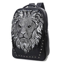 COZIME Unisex Soft PU Leather Backpack Lion Head Decoration Notebook Laptop Silver