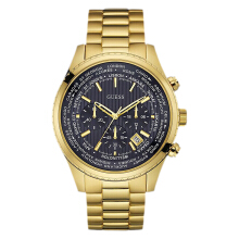 Guess World Time Chronograph U0602G1 Black Dial Gold Stainless Steel Strap [U0602G1]