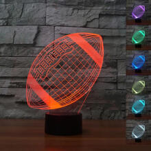 Farfi 3D LED Night Light 7 Color Changing Soccer Ball Football Visual Table Lamp Decor Multicolor