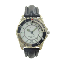 ALBA Jam Tangan Pria - Black Silver White - Leather Strap - AXDA19