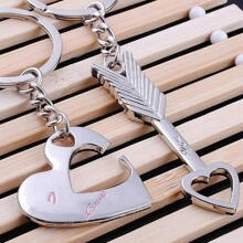 Farfi 2Pcs/Set Fashion Love You Heart Arrow Couple Keychain Car Key Ring Chain Gift as the pictures