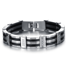 Punk Jewelry Unisex Bracelet Steel Cuff Bangle Silver Hand Chain Black Silicone Wristband - Silver