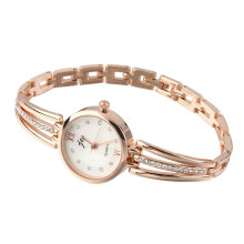 [LESHP]Luxury Rhinestone Stainless Steel Round Quartz For Women Dress Bracelet Watch Gold