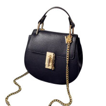 [LESHP]Women PU Leather Handbag Party Dress Solid Color Chain Single Shoulder Bag Black
