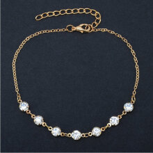[COZIME] Anklet with 7 Shining Diamonds Fashion Beach Simple Anklet Jewelry Vintage Golden1