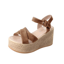 BESSKY Women Solid Bohemia Peep Toe Wedges Thick Bottom Flatform Shoes Sandals_