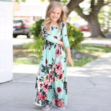 Fashion Floral Little Girls Dress Round Neck Three Quarter Sleeve Long Dress 140CM