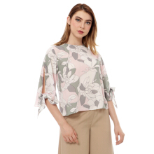 KORZ Printed Bow Sleeve Blouse