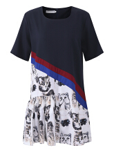 Zanzea 0051Plus Size Women Casual Dress Cat Printed Short Sleeve Patchwork Chiffon Dresses Black 2XL