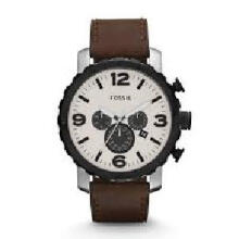 Fossil Nate Chronograph Brown Leather Strap Watch [JR1390]