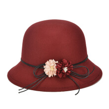 SiYing Autumn and Winter Bow Lady Dome Curl Vintage British Feather Hat