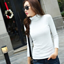 Trendy Design Women Slim Plug Size Long Sleeve Shirt Casual High Collar Tops white S