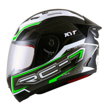 KYT RC Seven - Helm Full Face - Black/White/Green fluo #14