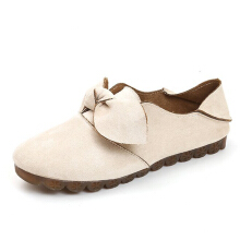 Bowknot Slip On Flat Loafers Beige 38