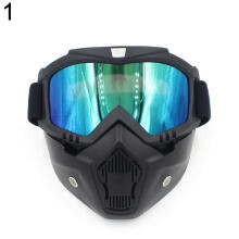 Farfi Motorcycle Ski Bike Open Face Mask Detachable Goggle Helmet Glasses Universal