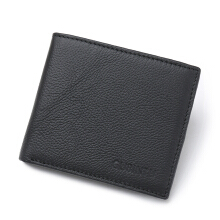 [LESHP]Anti-magnetic Credit Card Wallet Genuine Leather Men Male Purse Black