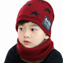 SiYing Cute Five-pointed Star Children's Winter Thicken Warm Neck Knit Cap