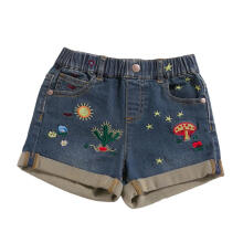 Farfi Fashion Kids Girls Cactus Embroidery Elastic Band Casual Summer Denim Shorts