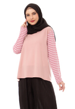 Mybamus Basic Hand Stripe Tops Dusty M14345 R78S3 Pink All Size