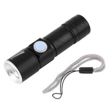 [kingstore]2000LM  Q5 LED Tactical Rechargeable USB Flashlight Torch Zoom Adjustable Black Black