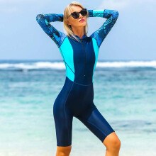 SBART Women Shorty Wetsuit Long Sleeve Swimwear Swimsuit Swimming Snorkeling Diving Wet Suit Surf Rashguard Front Zip