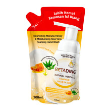 BETADINE Natural Defense Foaming Hand Wash Nourishing Manuka Honey & Moisturising Aloe Vera Refill Pouch 200ml