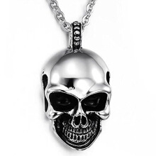 Anamode Charms Stainless Steel Skeleton Skull Head Pendant Necklaces Men Chain Jewelry