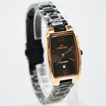 Hegner Stainless Steel Chain Ladies 1286LS-270D22HTRG Analog Date Hitam Rosegold Black